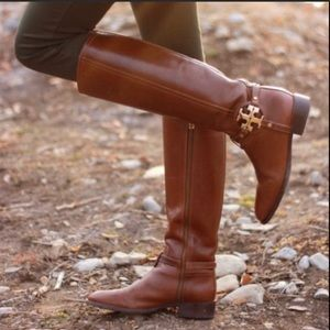 Tory Burch Amanda Brown Leather Tall Riding Boots